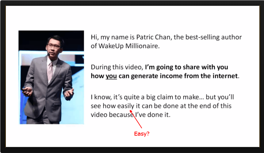 Patric Chan claim it is easy to make mPatric Chan claim it is easy to make money online-minoney online