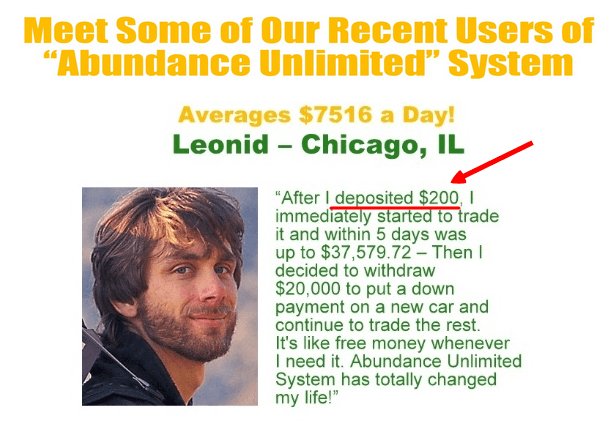 Deposit $200 to abundance unlimited