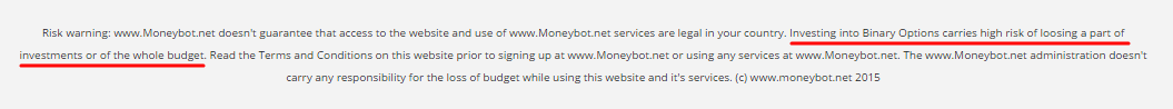 moneybot risk disclosure