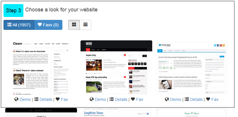choose the look of your free website