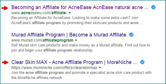 acne affiliate result